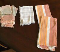 6 Vintage Fine Linen Tea Dish Kitchen Towels Yellow w Stripe, 2 AMAN Dishtowels