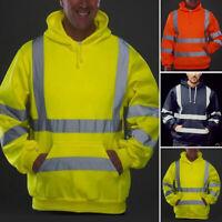 High Viz Vis Hooded Sweatshirt Safety Overalls Reflective Jumpers Hoodie Hi Vis