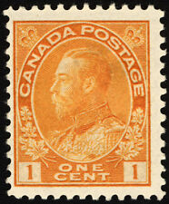 Canada #105 1c Orange Yellow 1922 King George V  Fresh Mint Lightly Hinged