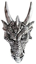 Menacing Dragon Head Pewter Pin Badge - Hand Made in Cornwall