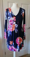 Joules Lizzie Stretch Jersey Navy Rose Print Tunic Dress Size 8