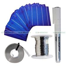 20 Piece 6x6 Solar Cell Cells 4 Silver Busbars DIY Kit Tab Bus Wire Flux Pen