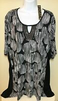 NEW Women's Plus Sz 2X Tunic Top Black White Blouse Shark Bite Hem NWT