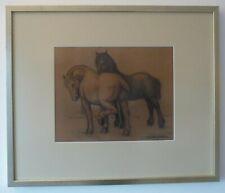 """Barend Jordens """"Paarden"""" Krijttekening op papier in lijst. Circa 1925"""