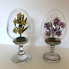 House Of Faberge Franklin Mint Flower Bouquet Glass Etched Egg Austria Set of 2