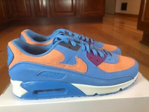 Nike By You ID Air Max 90 Blue Light Orange Purple DJ3176 991 Men's Size 11