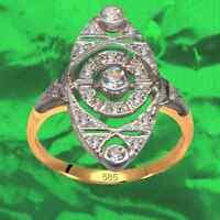Antik Stil Art Deko Ring Echt 585 Gelb und Weißgold Originale Diamanten
