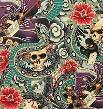 AH215 Zen Charmer Asian Japanese Tattoo Skull Geisha Inked Cotton Quilt Fabric