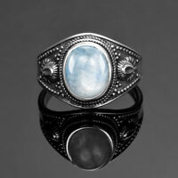 Vintage 925 Silver Natural Moonstone Chaorite Wedding Engagement Ring Wholesale