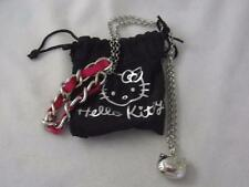 SANRIO SILVER PL PUFFY HELLO KITTY PENDANT & CHAIN  PINK RIBBON NECKLACE