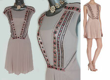 Karen Millen Nude Embellished 1920's Flapper Style Pleated Dress UK 14 EU42 £350