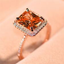 Fashion Wedding Rings for Women Rose Gold Filled Emerald Cut Crystal Ring Size 8