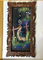 Vintage Mexican Feathercraft Folk Art Carved Wooden Frame Picture