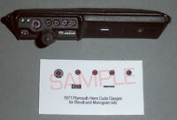 1971 PLYMOUTH HEMI CUDA GAUGE FACES for 1/24 scale REVELL - MONOGRAM KITS