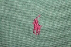 RALPH LAUREN 17.5-34/35 Green w/ Orange Pony CLASSIC Dress Shirt
