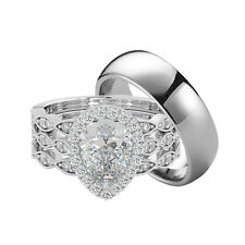 Couple Rings Set - Titanium and 925 Sterling Silver Teardrop/Pear Cut Cubic Zirc