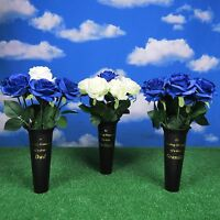 MEMORIAL GRAVE VASE AND ROSES  DAD GRANDAD HUSBAND Fathers Day Graveside Flowers