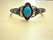 NAVAJO STERLING SILVER TURQUOISE CUFF BRACELET  BY BY R.TOM