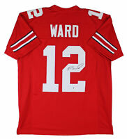 Ohio State Denzel Ward Authentic Signed Red Jersey Autographed BAS Witnessed