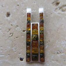 Genuine, Natural, Multicolor, BALTIC AMBER Pendant, 925 STERLING SILVER #1567