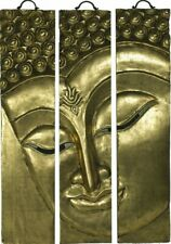 BUDDHA WANDRELIEF WANDBILD 3-TLG. MASSIVHOLZ CHINESISCHE MÖBEL THAI 91x60 G '6