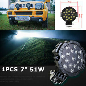 """1x 7"""" 51W Round Off Road Led Spot Work Light For Jeep Truck Bumper Driving Black"""