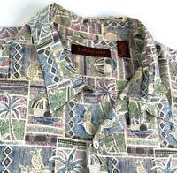 Tori Richard Mens Hawaiian Camp Shirt Coconuts Tiki Huts Button Up SS USA 3XL