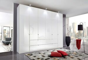 LUXURY GERMAN MOBEL 2 3 4 5 6 DOOR WARDROBE BEDROOM WHITE HIGH GLOSS FITTED FREE