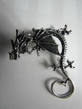 Gothic Dragon Clip On Silver Plated Left Earring - NWOT