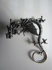 Gothic Dragon Clip On Silver Plated Left Earring - Free Shipping - NWOT