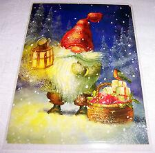 Postkarte Zwerg Winternacht Laterne Korb Äpfel Vogel Schweden unbeschrieben