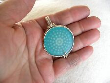 """FLORAL TURQUOISE CONTEMPORARY  STERLING SILVER PENDANT TMARRA DESIGNS 2"""" LONG"""
