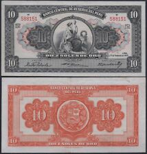 "PERU P71**10 SOLES ORO""**ND 17-02-1955***AU***SEE FULL DESCRIPTION"