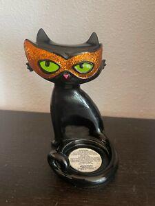 Rare Bath & Body Works Halloween BLACK CAT w/MASK Mini Candle Holder plus candle