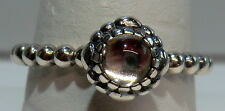 "pandora ALE sterling silver.925 ""birthday blossom april"" Ring 190858bk size 7.5"