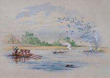 XIXe siècle anglais Colonial School. fine aquarelle d'une rivière Scène et bateau