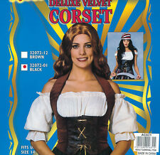 Ladies Brown Velvet Fitted Corset Sexy Fancy Dress Costume Wench Outfit UK 10-14