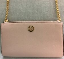 Tory Burch Everly Mini Top Zip EW Chain Crossbody Bag Shell Pink Bran New $249