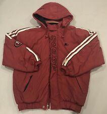 Vintage San Francisco 49ers Starter Puffer Jacket XL Red W/Hood