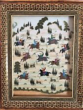 Middle Eastern/Persian Painting on bakelite with Hunting Trip Mosaic Wood Frame