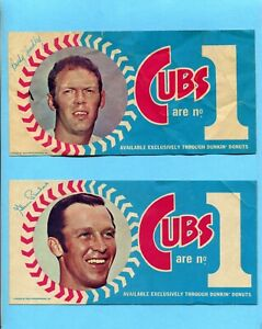 1970 Dunkin Donuts Chicago Cubs Lot of 2 Diff Bumper Stickers Hundley Beckert