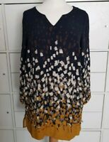 White Stuff Navy Mustard Tunic Dress printed pattern 12 uk