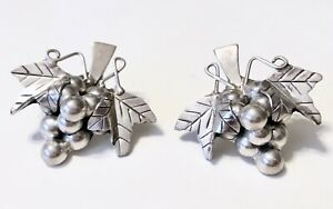 Vintage STERLING SILVER 925 Grape Cluster Taxco Mexico Pierced Earrings