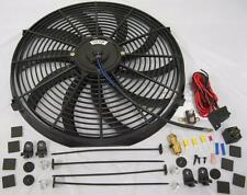 """High CFM 16"""" Electric Curved S-Blade Cooling Radiator Fan + Thermostat Mount Kit"""