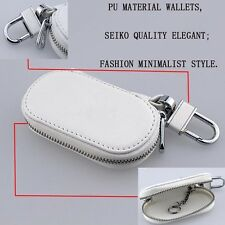 White Fashion Zipper Genuine PU Leather Car Key Bag Case Holder Cover fit HONDA