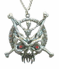 Gothic Skeleton with Crossbones and Demon Mask Pewter Necklace NK-449