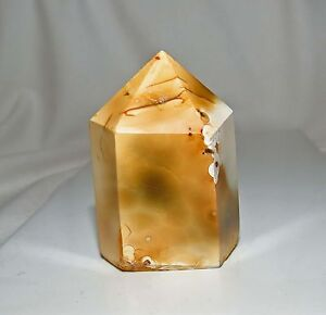 52g CREAMY WHITE-BROWN COLOUR AGATE polished CRYSTAL POINT