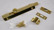 Surface Door Bolt, Polished Brass Plated, 150mm x 35mm