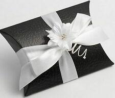 50 Negro Pelle Bustina/Almohada favor favor Cajas Caja De Regalo