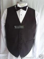 "Mens Silk BLACK Waistcoat To fit 62"" Chest + Black Bow tie + White Pocket Hankie"